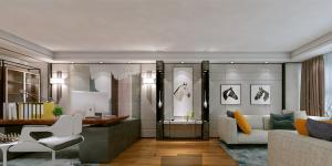 万科大厦欣悦化妆品公司,白与黄的搭配,简约、大气!